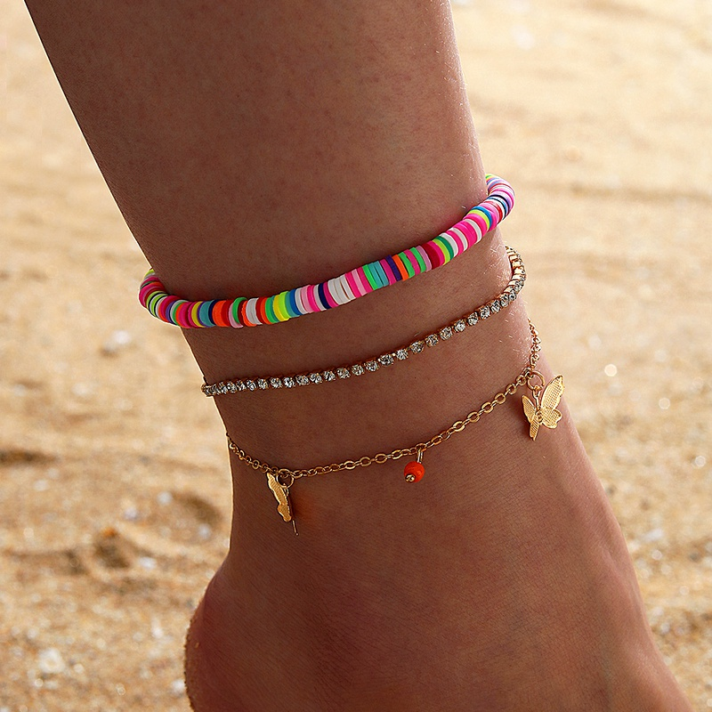 Bohemia Waist Bag Disc Butterfly Three-layer Tassel Anklet  NHGY285714