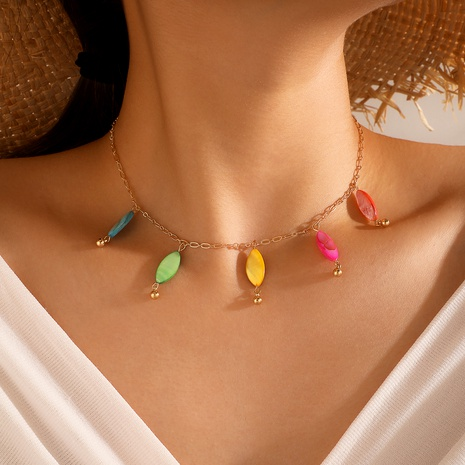 Bohemia style colorful leaf pendant necklace macaron drop clavicle chain NHGY285713's discount tags