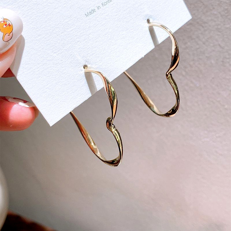 gold plating 925 silver needle heart hoop earrings wholesale NHQC285636