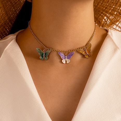 Fashion Alloy Multicolor Epoxy Butterfly Flying Necklace NHGY285712's discount tags