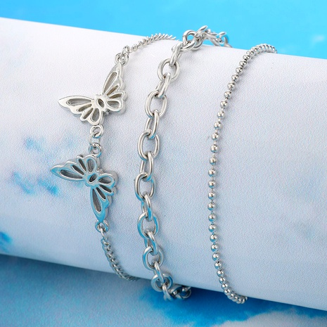 Hip hop punk butterfly silver bracelet set NHGY285708's discount tags