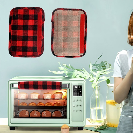 Christmas decoration red and black plaid linen refrigerator cover microwave oven glove four-piece NHHB285441's discount tags