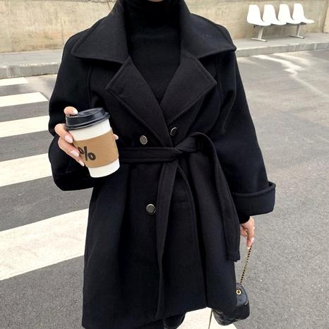 abrigo de lana negro NHUO286055's discount tags