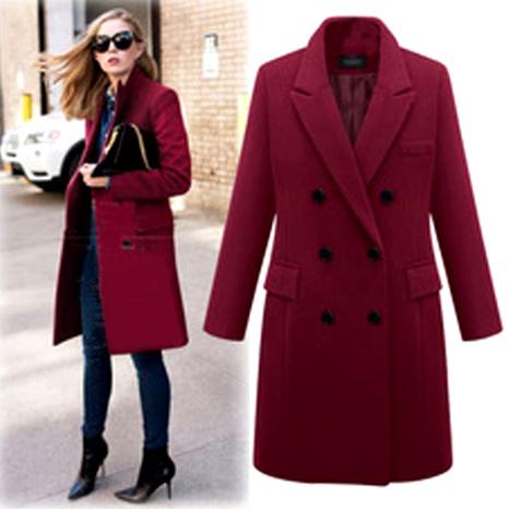 abrigo de lana de longitud media de moda NHJC286063's discount tags