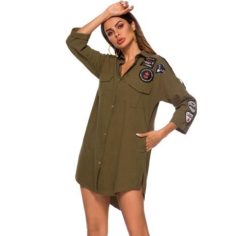 vestido camisero de manga larga con estampado verde NHJG286062's discount tags
