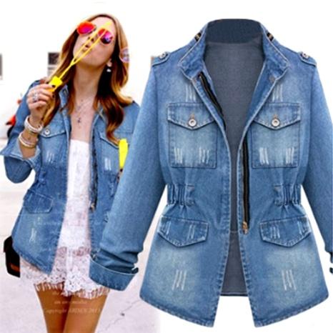 chaqueta vaquera con bolsillo en la cintura y manga larga de talla grande NHJC286061's discount tags