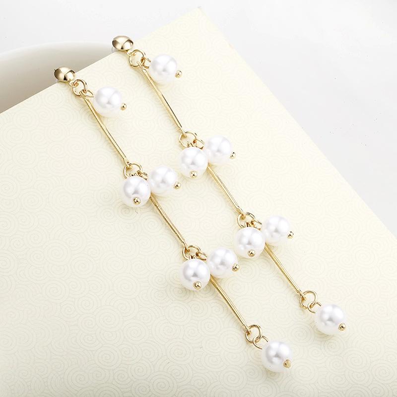 fashion pearl tassel long earrings NHPF285736