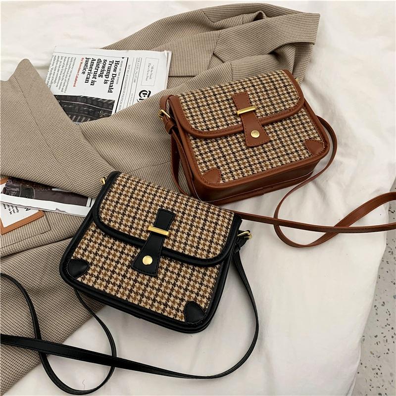 plaid single shoulder messenger bag NHRU285740