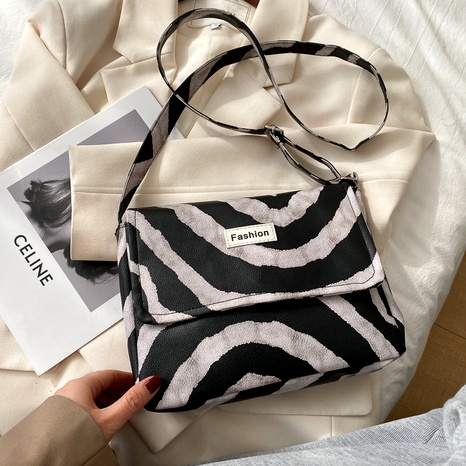 retro leopard print one shoulder messenger bag NHRU285751's discount tags