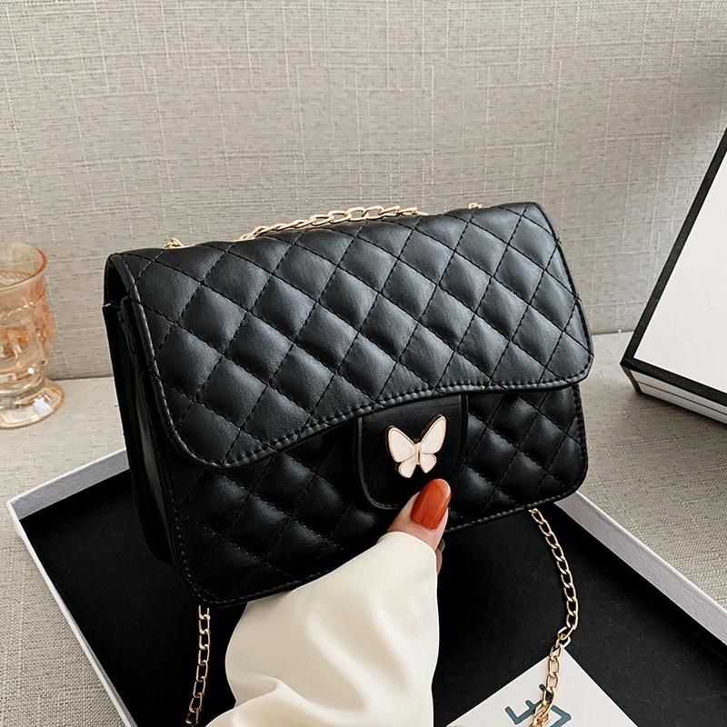 fashion messenger one-shoulder diamond small square bag NHRU285770