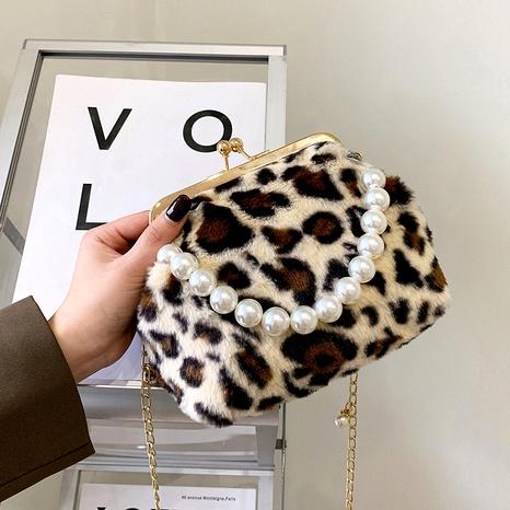 bolso pequeño casual con estampado de leopardo de felpa de moda NHJZ285866's discount tags