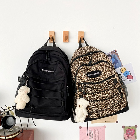 retro leopard print large-capacity schoolbag  NHHX285944's discount tags