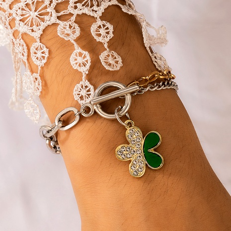 simple inlaid green crystal diamond flower bracelet alloy adjustable jewelry  NHGY286386's discount tags