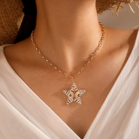 fashion butterfly pearl hollow star chain necklace  NHGY286384's discount tags