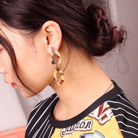 pendientes de aro doble con estampado de leopardo NHMD279997's discount tags