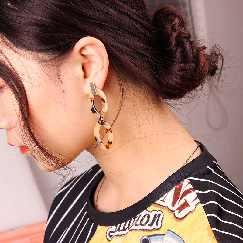 leopard print double hoop earrings NHMD279997