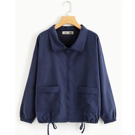 chaqueta casual con cordón y dobladillo de talla grande NHIS287056's discount tags