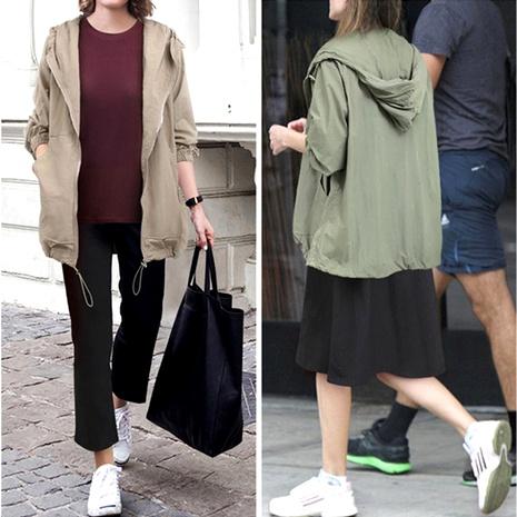 chaqueta casual de color puro con capucha y cordón con cremallera NHIS287055's discount tags