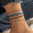 retro disc pendant tassel anklet boho handwoven rope gold black beaded anklet set NHGY286389
