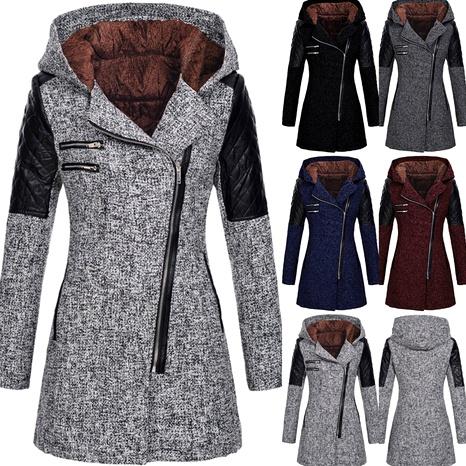 abrigo de lana de manga larga con capucha suelta y costuras diagonales con cremallera NHUO287041's discount tags