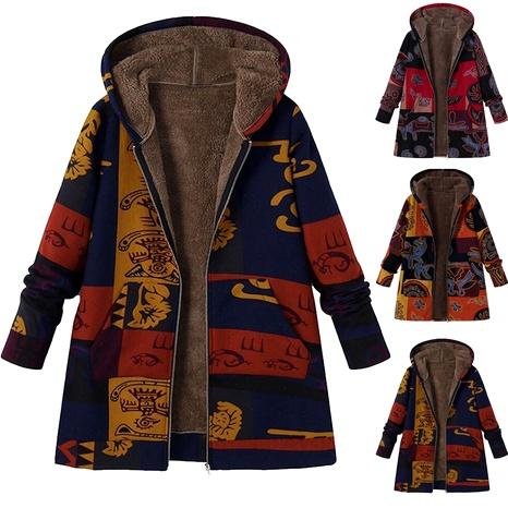 abrigo de manga larga en algodón con capucha y costuras con estampado retro NHUO287040's discount tags