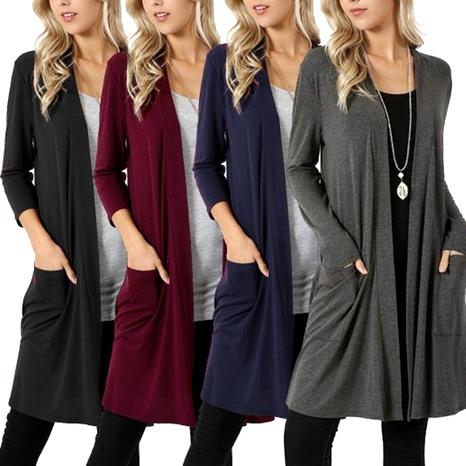 chaqueta de punto de punto de color puro simple de moda NHUO287036's discount tags