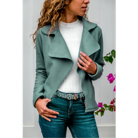 abrigo de color sólido de solapa de moda de otoño NHUO287033's discount tags
