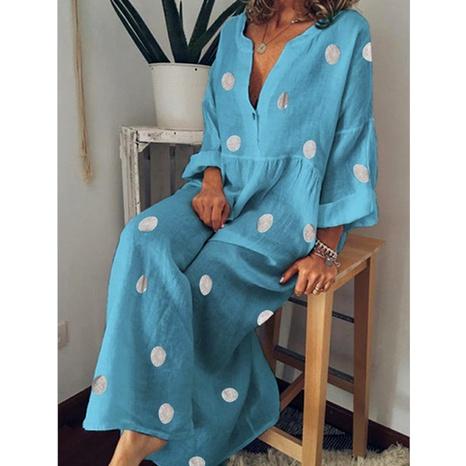 Robe bohème à manches longues imprimée à pois à la mode NHUO287032's discount tags