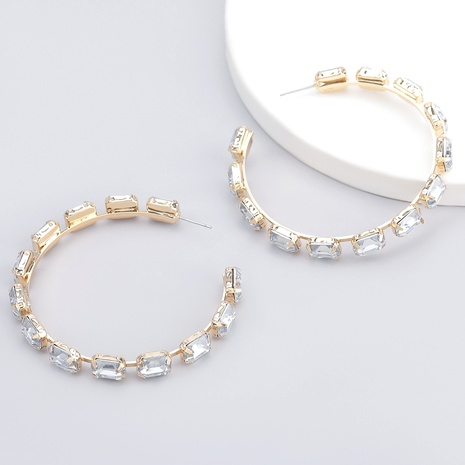 alloy full diamond square glass big circle earrings  NHJE286079's discount tags