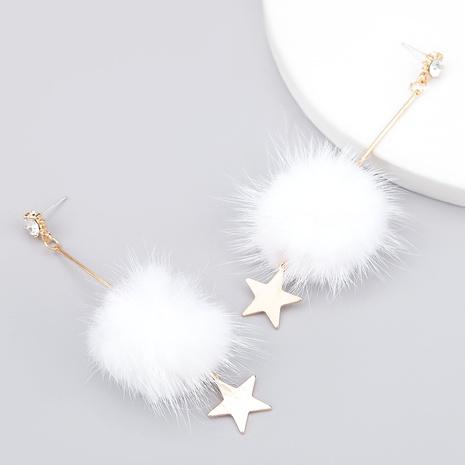 alloy diamond-studded wool ball star earrings  NHJE286078's discount tags
