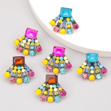 fan-shaped alloy diamond-studded earrings  NHJE286083's discount tags