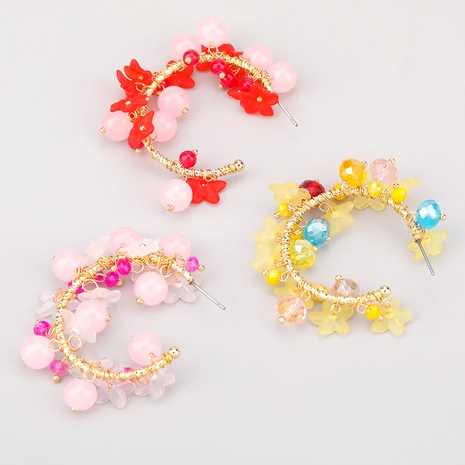 c-shaped alloy resin earrings  NHJE286084's discount tags
