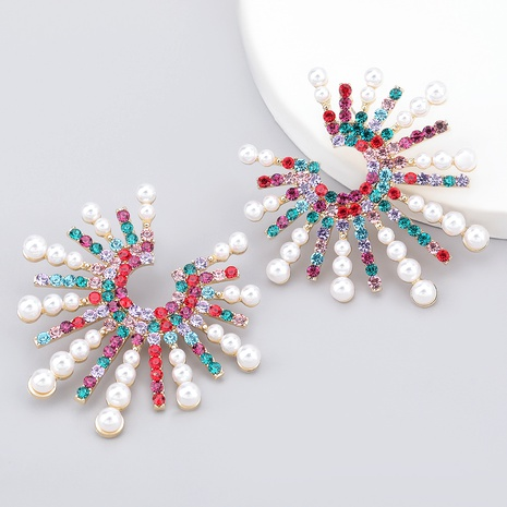 Diamantbesetzte Perlenohrringe aus Sonnenblumenlegierung mit Diamanten NHJE286091's discount tags