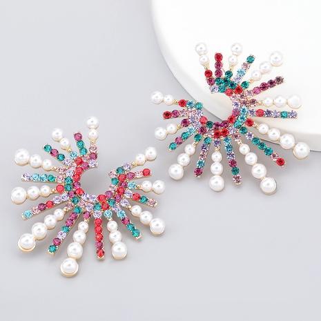 sunflower alloy diamond-studded imitation pearl earrings NHJE286091's discount tags