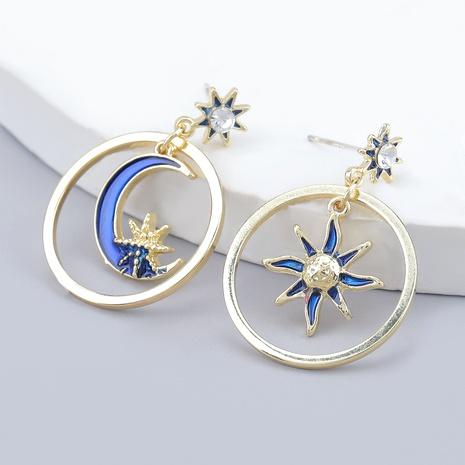 alloy diamond-studded sun moon circle earrings NHJE286076's discount tags