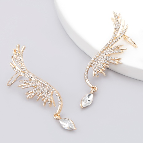 angel wings alloy diamond earrings  NHJE286088's discount tags