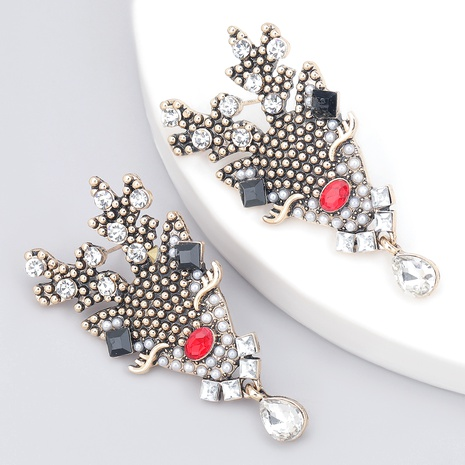 imitation pearl alloy diamond elk Christmas earrings  NHJE286093's discount tags