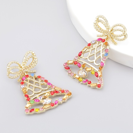 Bowknot Christmas Bell Alloy Diamond Earrings  NHJE286092's discount tags