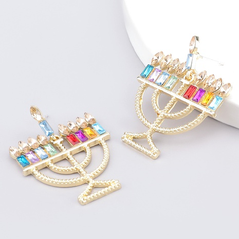 Christmas candle holder alloy diamond earrings  NHJE286096's discount tags