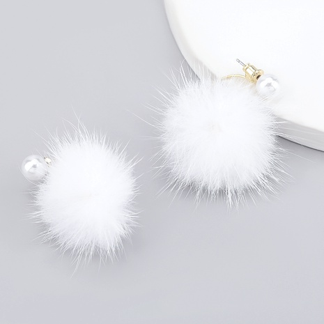 imitation pearl round hair ball earrings NHJE286097's discount tags