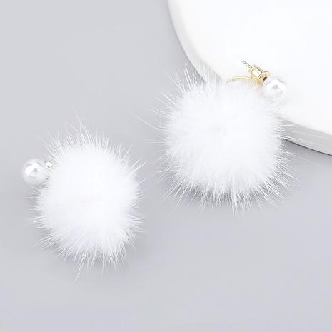boucles d'oreilles boule de poils ronds imitation perle NHJE286097's discount tags