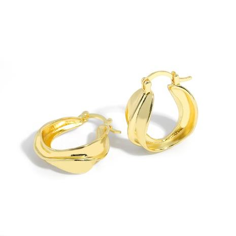 Mode Kupfer verdrehte goldene Kreis Ohrringe NHJQ286113's discount tags