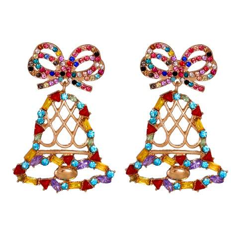Christmas cartoon bell diamonds earrings NHJJ286120's discount tags
