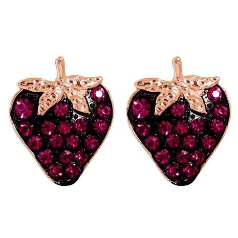 boucles d'oreilles fashion full diamond fraise noire NHJJ286123's discount tags