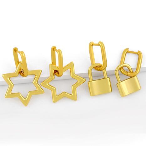 retro lock metal earrings  NHAS286139's discount tags