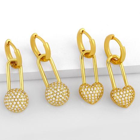 simple pin peach heart fashion earrings  NHAS286140's discount tags