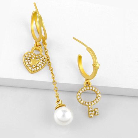 pearl peach heart asymmetric key diamond pendant earrings NHAS286145's discount tags