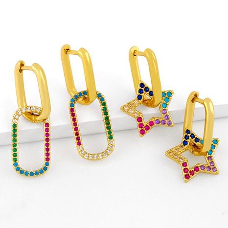 fashion micro-inlaid zircon U-shaped earrings NHAS286147's discount tags