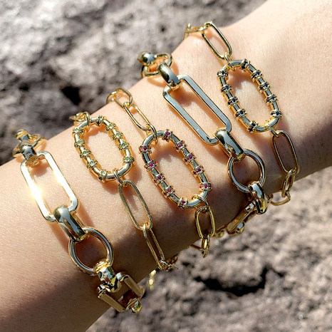 hip-hop buckle diamond bracelet  NHAS286134's discount tags
