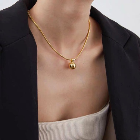 simple fashion golden ball necklace NHMD286150's discount tags